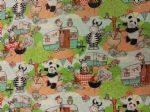 ANIMALS ON HOLIDAY - ELEPHANT ZEBRA PANDA - Fabric 100% Cotton - Price Per Metre